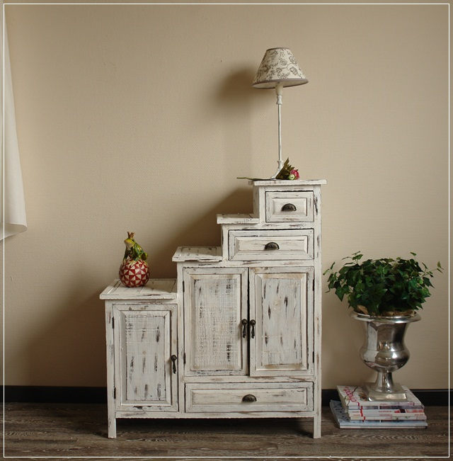 treppenkommode aus holz im shabby chic kommode schrank usedlook ebay. Black Bedroom Furniture Sets. Home Design Ideas