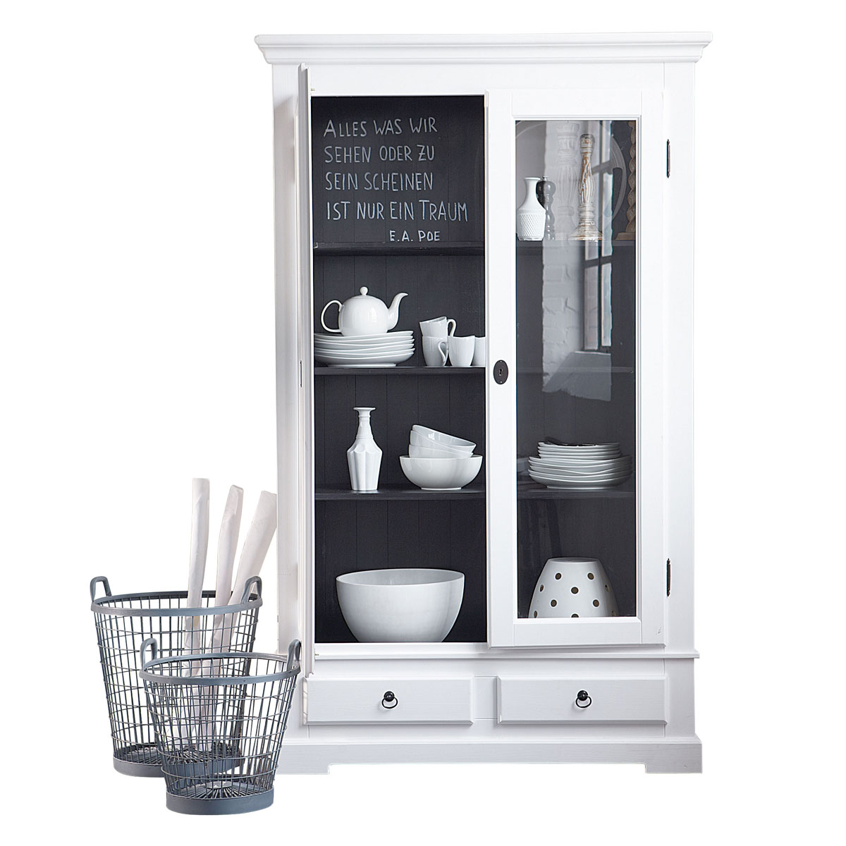 landhaus vitrine wei innen mit tafel von impressionen neu 995 ebay. Black Bedroom Furniture Sets. Home Design Ideas