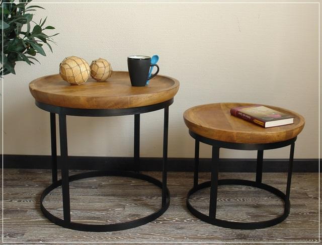 beistelltisch couchtisch tisch set rund skandinavisches design holz metall neu ebay. Black Bedroom Furniture Sets. Home Design Ideas