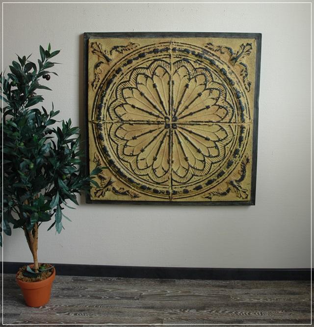 wandobjekt wanddekoration design tunis metall patiniert 86x86cm mediterran neu 4250489906744 ebay. Black Bedroom Furniture Sets. Home Design Ideas