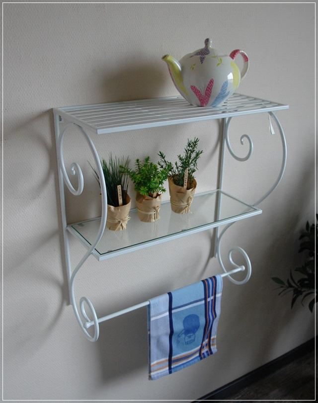 wandregal aus metall wei glasboden metallregal nostalgie romantik landhaus neu ebay. Black Bedroom Furniture Sets. Home Design Ideas