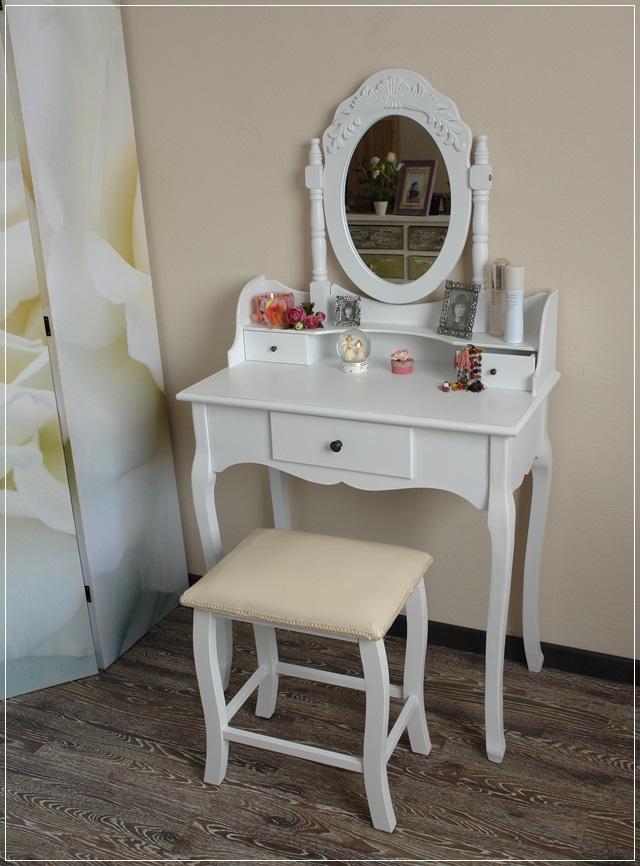 Schminktisch Dekorieren schminktisch frisiertisch weiß mit hocker landhaus stil schlafzimmer