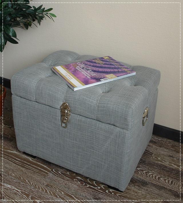 truhenbank edel stoff grau knopfheftung truhe sitzbank. Black Bedroom Furniture Sets. Home Design Ideas