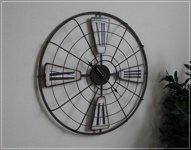 gro e wanduhr ventilator metall rost optik retro vintage design 60 neu ebay. Black Bedroom Furniture Sets. Home Design Ideas